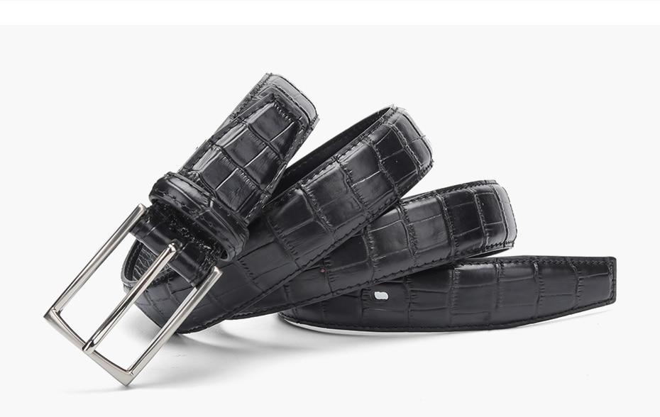 Casual Men Belts Crocodile Pattern Women Unisex Genuine Leather Black Brown