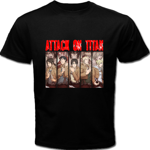 Attack on Titan Singeki No Kyojin New Hot Sale Black Men T Shirt Cotton S – 3XL T-Shirt Summer Novelty Cartoon