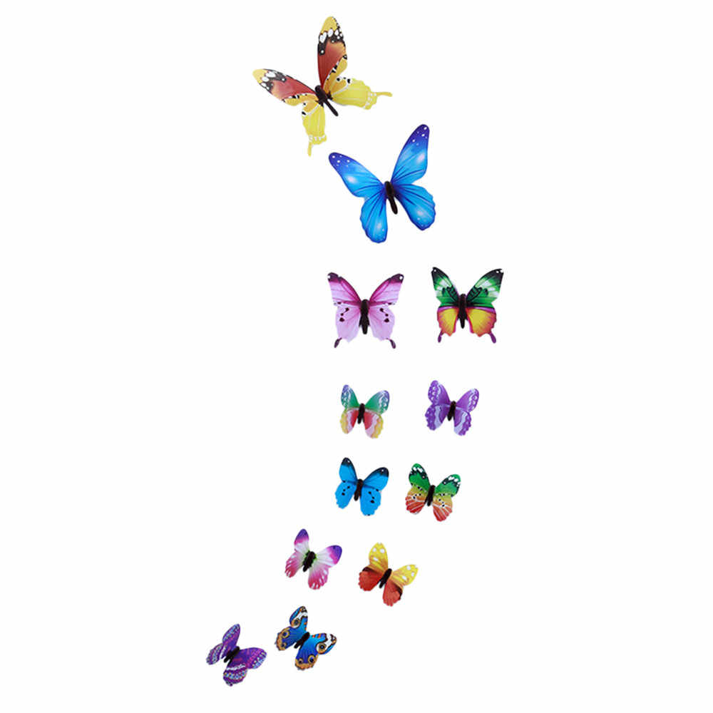 12pcs Luminous Butterfly Design Decal Art Wall Stickers Room Magnetic Home Decor diy stickers stickertjes Wallpaper Decoration