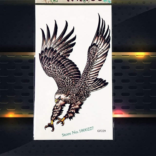 3D Eagle Temporary Tattoo Men Body Art ARm Tattoo Sleeve PGF229 Fake Flash Tattoo Henna Kids Children Legs Tattoo Balck Stickers