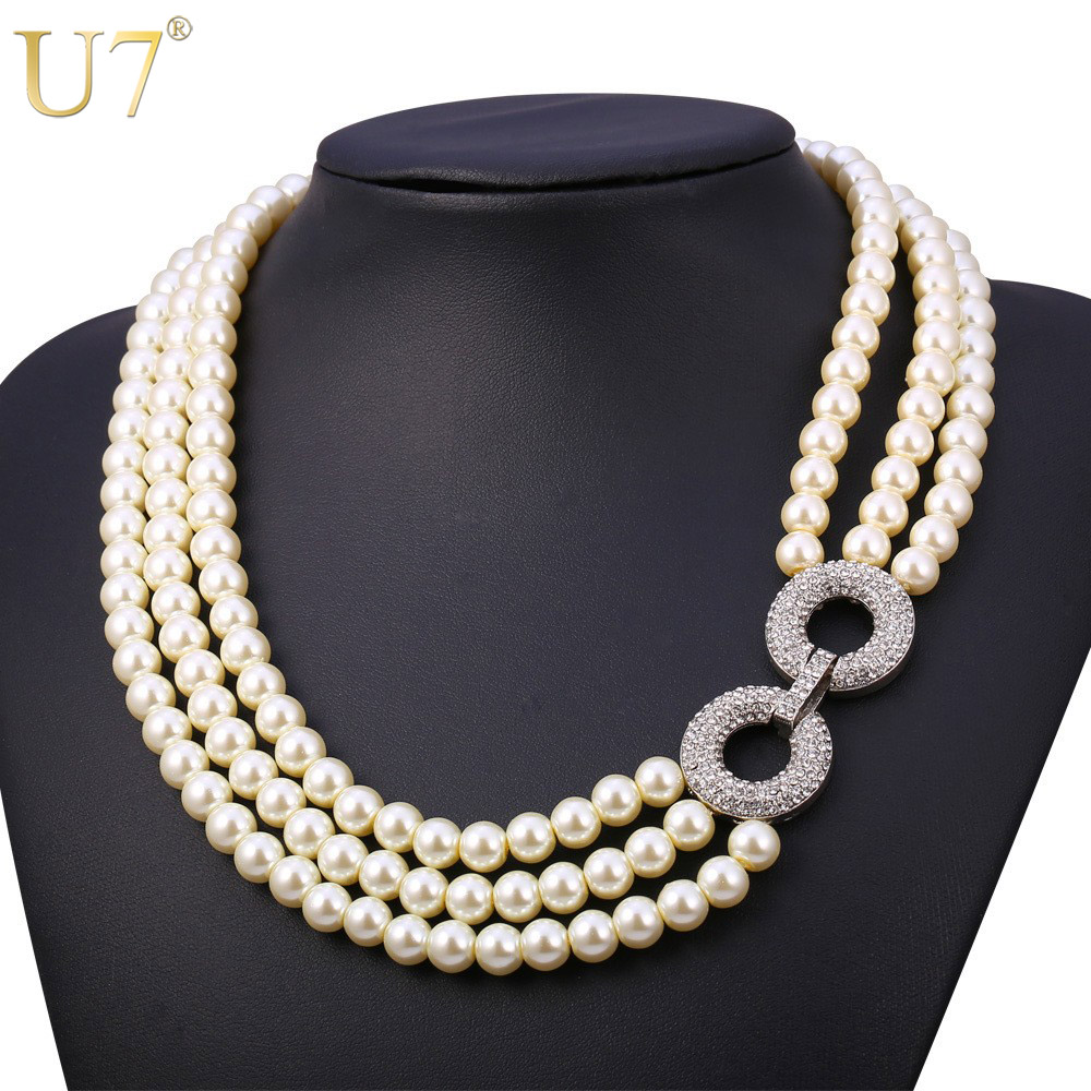 Buy U7 Simulated Pearl Jewelry Necklace Women Fashion Wholesale Trendy