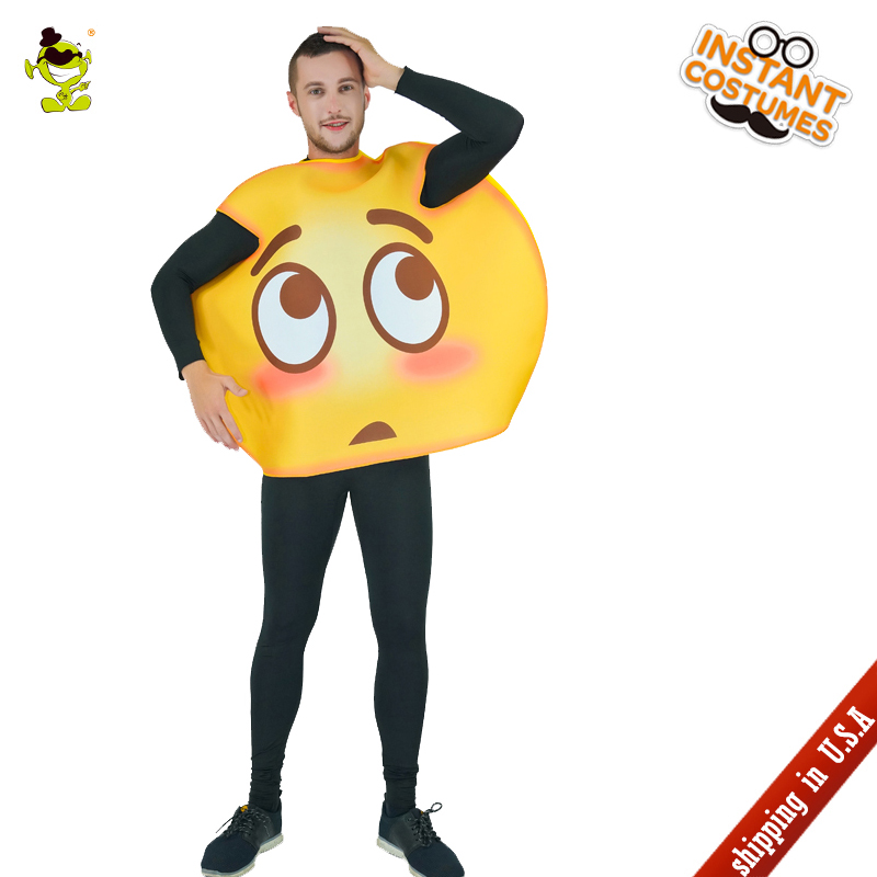 QLQ New Unisex Shy Emoji Costume Fancy Dress Imitation Party Role Play Emoticon Funny Shy Emoji Jumpsuits For Halloween Party