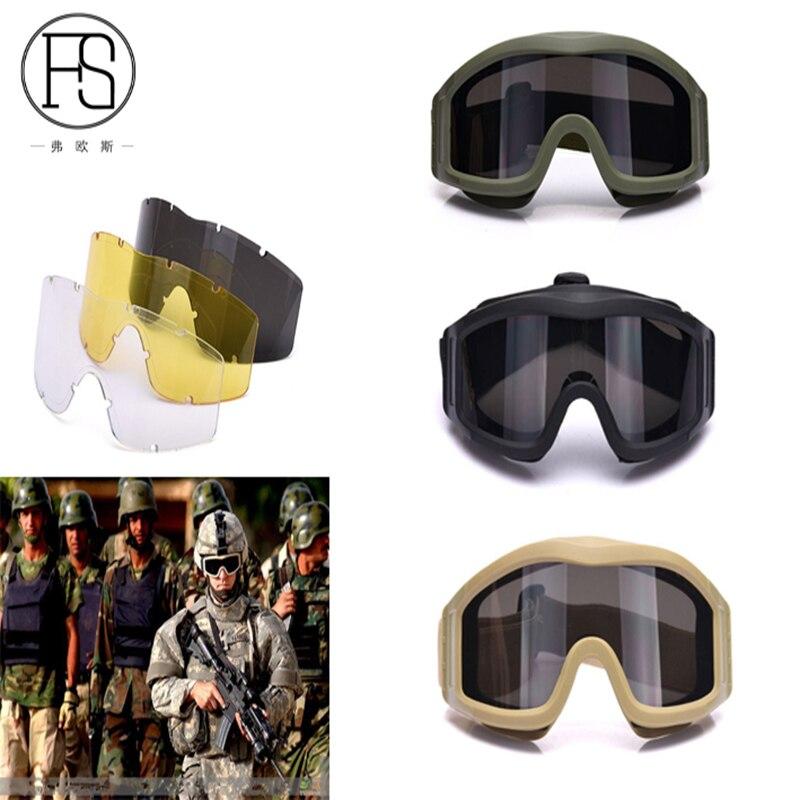 Prix pour Hommes airsoft tactique lunettes militaire tir jeu extérieur guerre protection des yeux lunettes de soleil avec 3 lentille