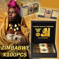 Зимбабве Позолоченные Банкноты набор с деревянной коробке красочные Золотая банкнота коллекция бумага деньги подарок для бизнес домашний