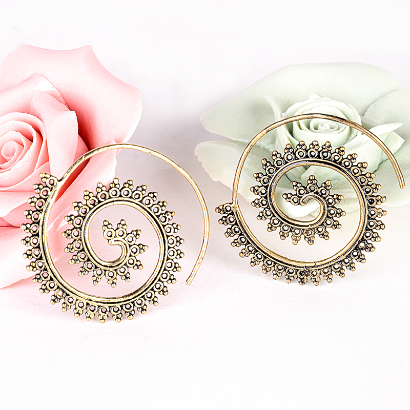 Fashion Women Jewelry Tribal Br Circles Round Spiral Hoop Earrings Charming Silver Bronze Shape Earring Piercing In From