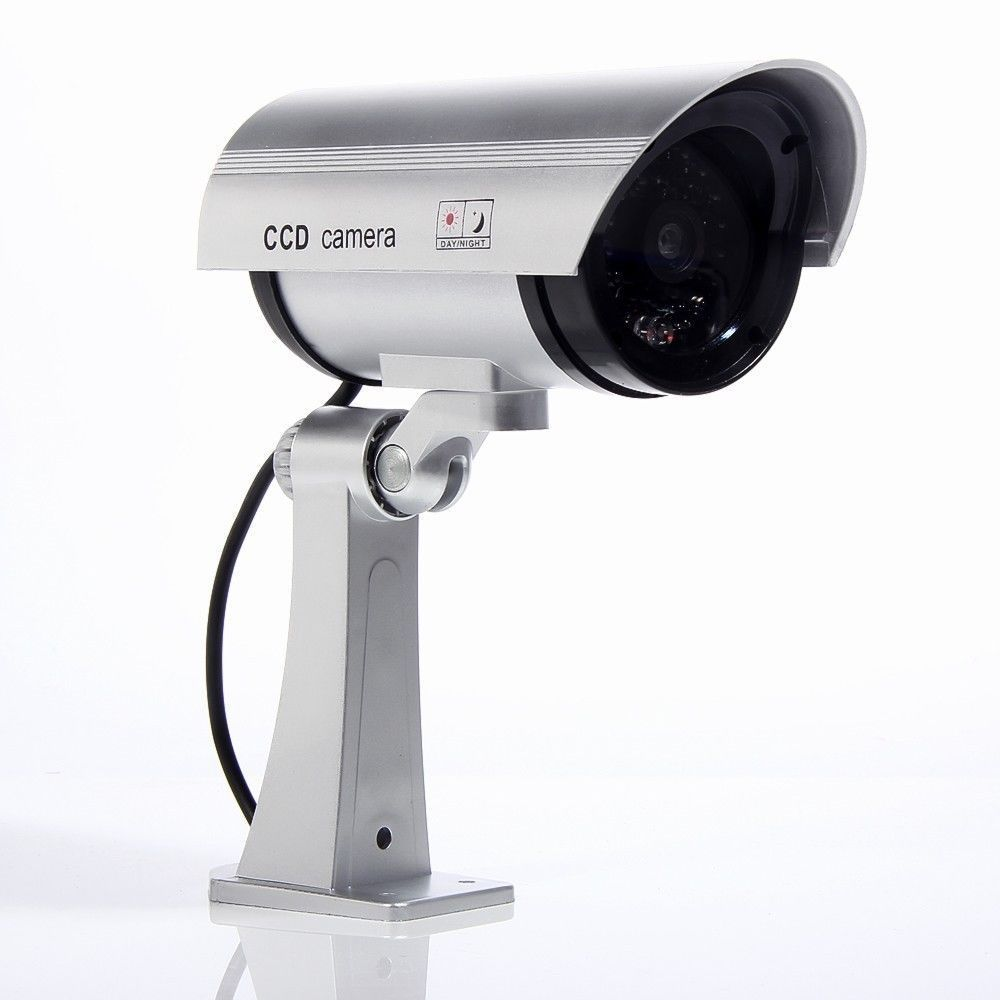 Blinking LED Red Fake Surveillance Dummy Bullet Camera Home Security Cameras image
