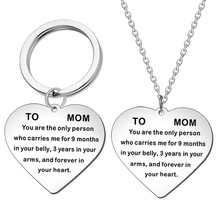 Fashion Engraved To Mom Lettering Stainless Steel Necklace Clavicle Chain Mothers Day Gift Heart Pendant