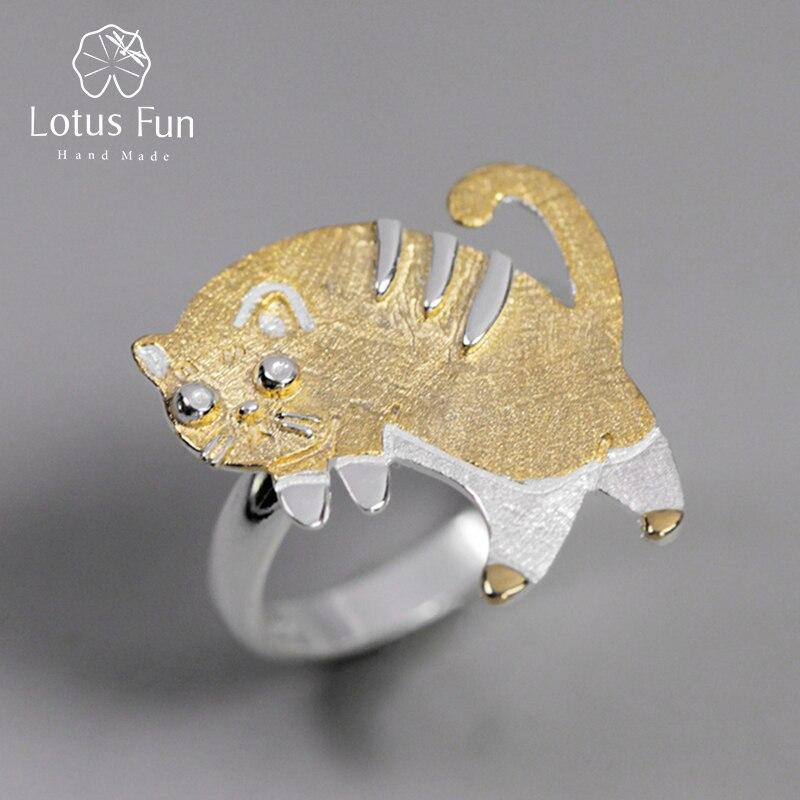 Lotus Spaß Echt 925 Sterling Silber Handgemachtes Feine Schmuck Schöne Angst Katze Design Ringe Für Frauen Bijoux Nette Geschenk