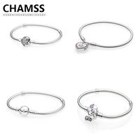 CHAMSS 100% Real 925 Silver PDSMOMENTS Silver Bracelet with Wildflower Meadow CLASP Jewelry Gifts