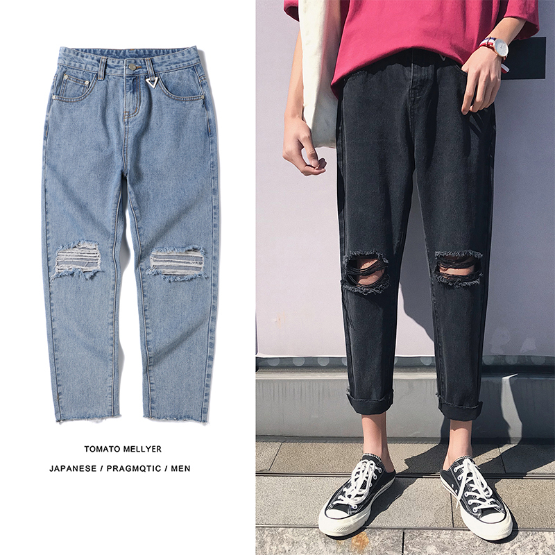 2018 Mens Fashion Trend Holes Classic Style Blue Brand Jeans Stretch Casual Pants Baggy Solid Color Trousers Plus Size S-2XL