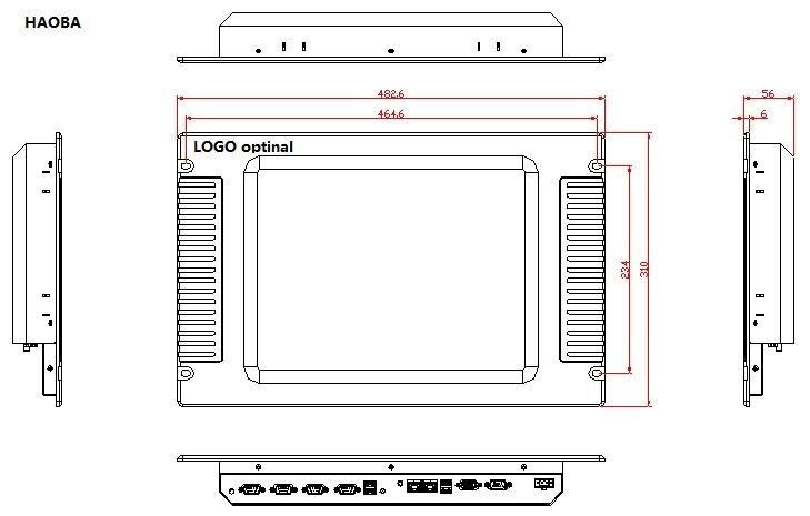 15 tommer rackmonteret industriel panel-pc, J1900 CPU, 4 GB DDR3.500 - Industrielle computere og tilbehør - Foto 4