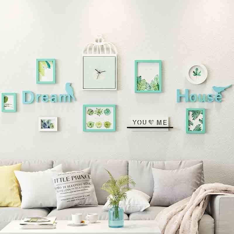 Скандинавские настенные часы декоративная живопись креативная Комбинация Гостиная диван фон настенная фоторамка стены RackPhotoWall
