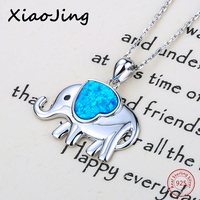 New Arrival Cute Animal Elephant Beads Pendant Chain Necklace With Growing Love Heart Enamel 925 Silver