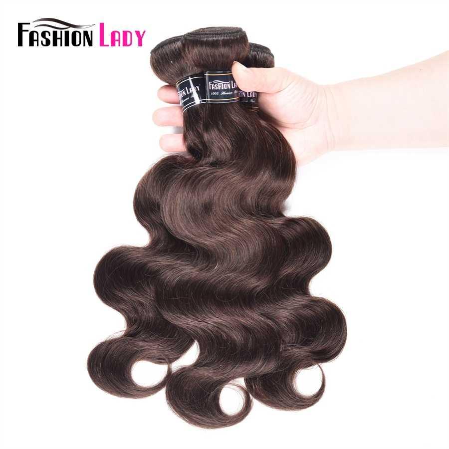 Moda señora pelo peruano precoloreado Bodywave paquetes 100% cabello humano tejido 2 # Paquetes de pelo marrón oscuro 3 paquetes no remy