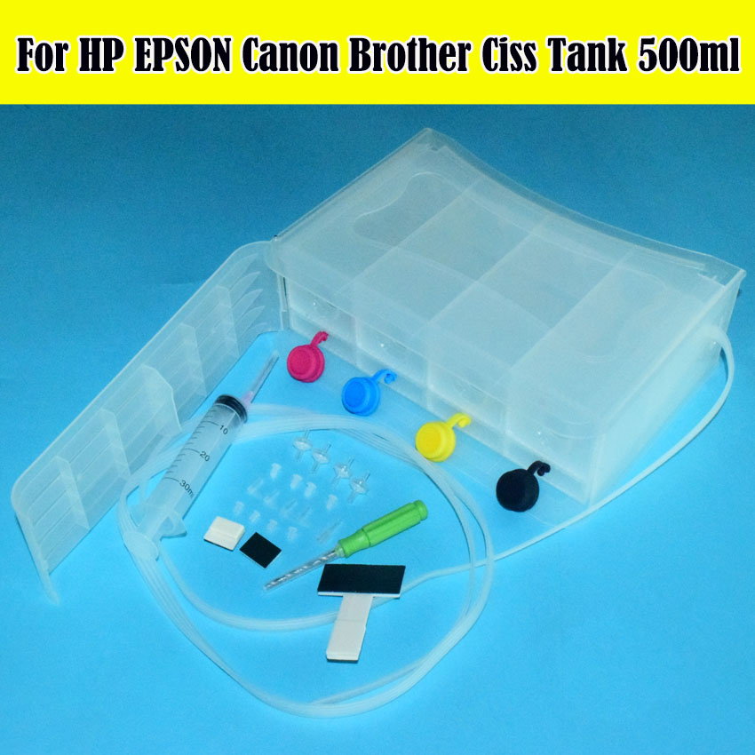 все цены на Universal With Accessaries Diy ink Tank Kit CISS Continuous Ink Supply System Use in For HP EPSON Canon Brother ALL Printer онлайн