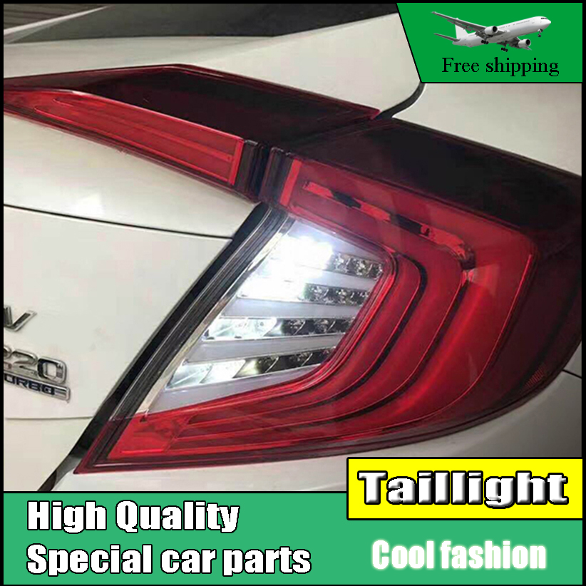 Car Styling For HONDA Civic 10th 2016 2017 Taillights LED Tail Light LED Rear Lamp DRL+Brake+Reversing+Signal LIGHT Accessories