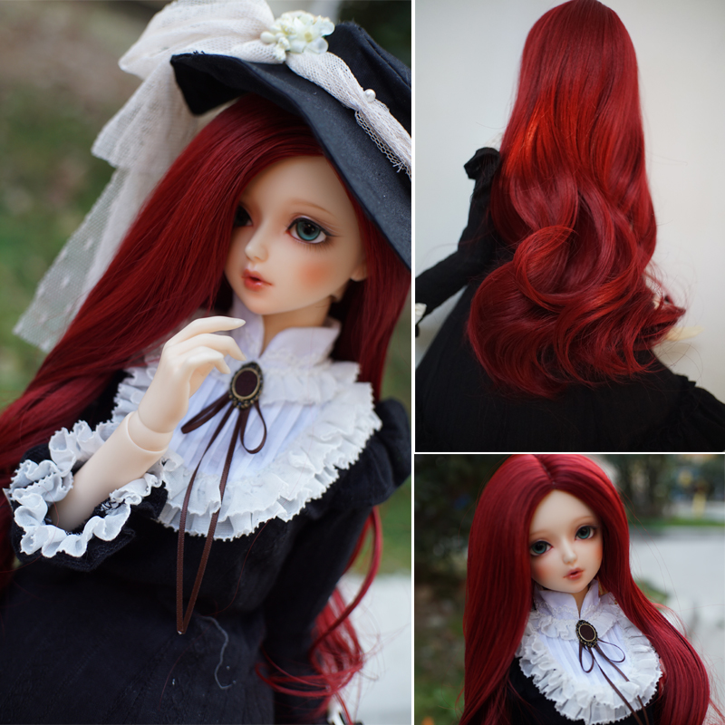 Bjd Wig Size 7 8 inch 1 4 High temperature Wig Girl Long Hair Doll Wig in Beauty Red Doll DIY Making Repair Accessory in Dolls Accessories from Toys Hobbies