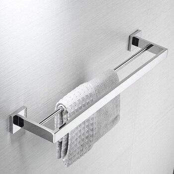 AUSWIND Modren polish Towel rack 304 stainless steel towel bar double Square base towel rod wall mount bathroom hardware