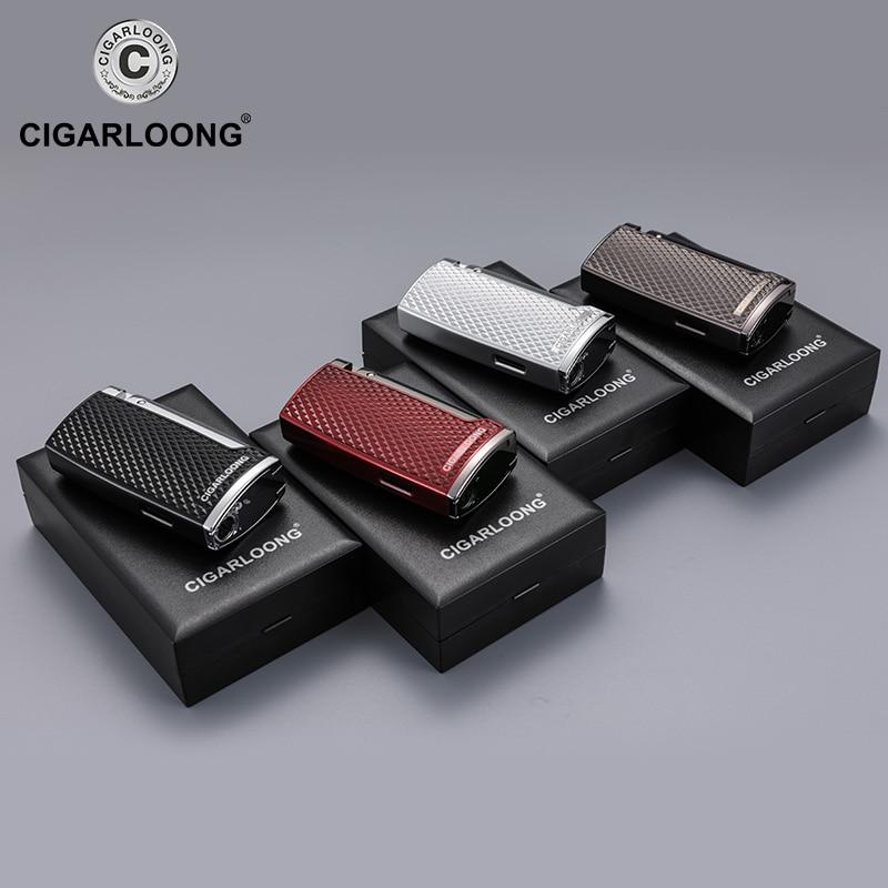 Купить с кэшбэком cigar lighter straight windproof 2 flame portable cigarette lighter with cigar drill gift box packaging CB-0124