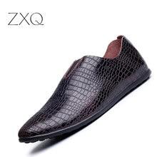 2016 Новая Мода Натуральная Кожа Мужчины Обувь, 100% Высокое Качество Мужчин Повседневная Обувь, крокодил Стиль Роскошные Кожаные Loafer Обувь Мужчины