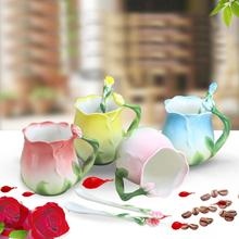 New Luxury Flower Shape Hand Make Ceramics Mugs With Spoon Chinese Style Traditional Ceramic Tea Set Drinking Cups