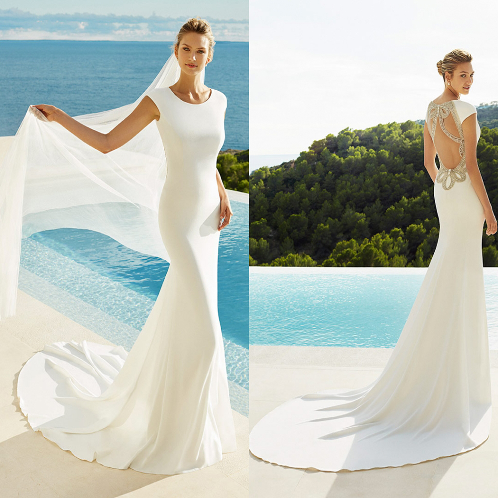 Crystal Wedding Gown: Soft Satin Vestido De Noiva Backless Mermaid Bride Wedding