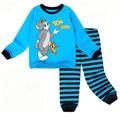 Nuevo 2 unids conjunto muchacha del muchacho bebé niños ropa de dormir conviene niño del pijama de dibujos animados Del Gato y el ratón Niños pijamas de algodón establece