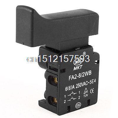 AC 250V/6A DPST NC Locking Push Trigger Switch FA2-8/2WB for Electric Hammer power tool push lock button trigger switch dpst dual pole ac250v 6a