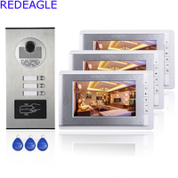 Three Units Apartment Color Video Door Phone Intercom System 7 Inch LCD RFID Access Outdoor Nihgt