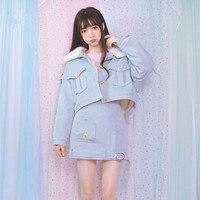 Autumn Winter New Lolita Girls Sweet Harajuku Pink Jackets Kawaii Soft Sister Cute Japanese Women Coat