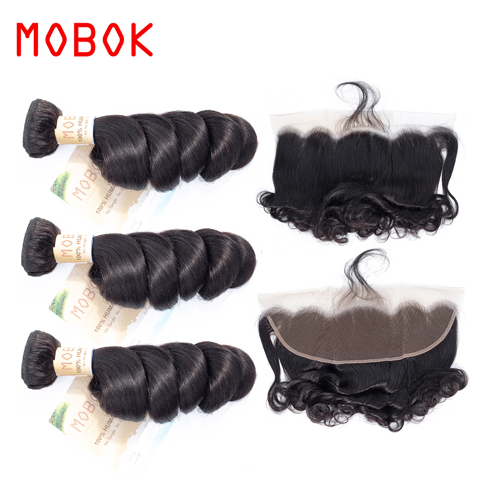 MOBOK 3 Bundle With 1Piece 13x 4 Lace Frontal Malaysian Loose Wave Hair Weave 100% Human Hair Natural Color Non Remy Hair