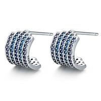 100% 925 Sterling Silver Gradual Change Blue CZ Exquisite Stud Earrings for Women Fashion Earrings Jewelry Gift SCE285 BAMOER