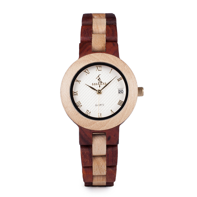 BOBO BIRD Wooden Handmade Women Quartz Watch with Gift Box