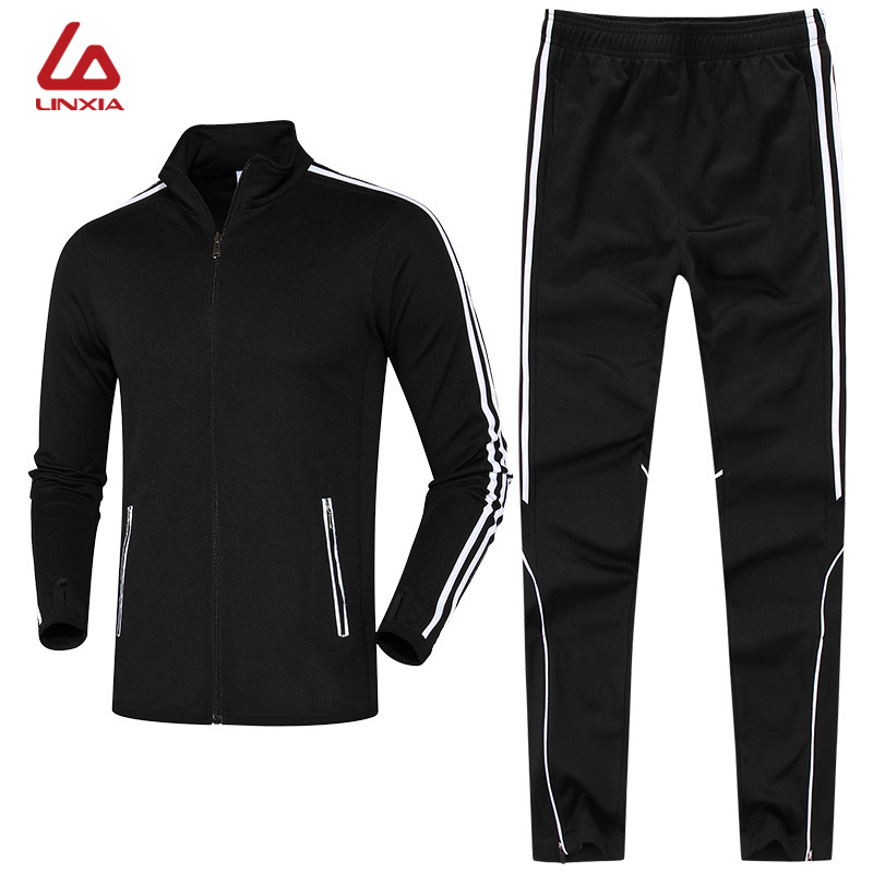 Mens Basketball Soccer Running Male Sportswear Sweat Breathable Mandarin Collar Jacket and Trousers Trainning and Exercise