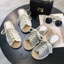 Luxury Bling Diamond Shoes Women 2019 Flat Slippers Summer Fashion Outside Flip-Flop Sandals Slides Beach Non-Slip Ladies