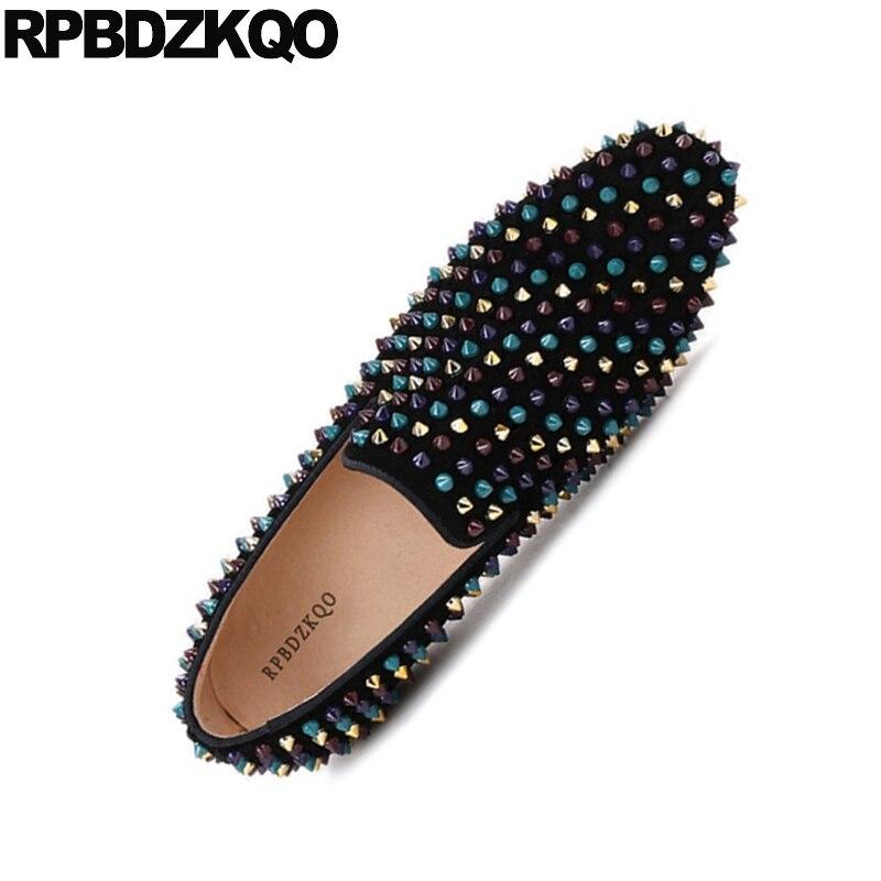 Más Cuero Real Mocasines 2018 Genuino 46 Nubuck Remache Zapatos Gamuza Toe Spike Marca Partido Stud Runway Negro 47 Square Tamaño Hombres xwI8qXWFE