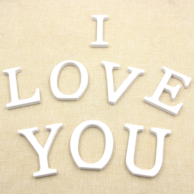 1pc 8cm standing a z white wooden wood letters alphabet word artificial cards homewedding