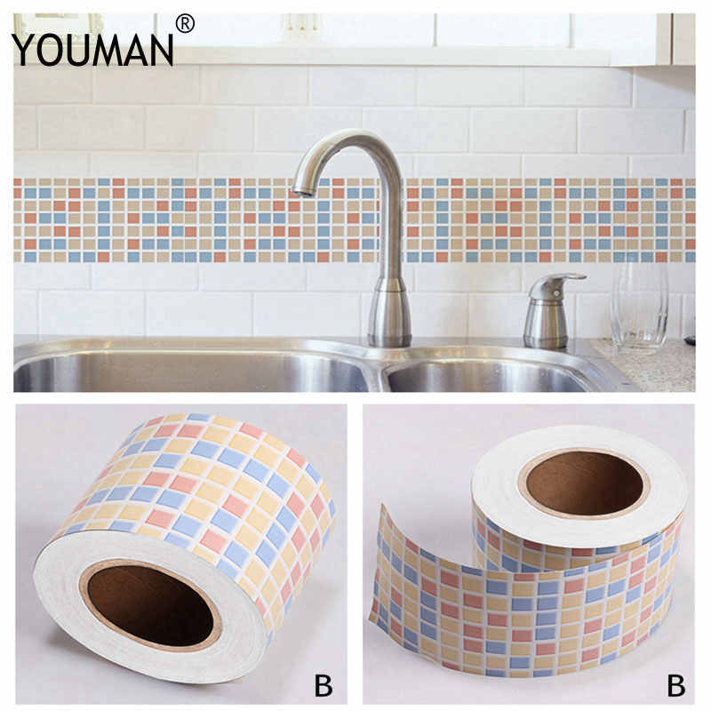 6M Self Adhsive PVC Waterproof Wallpaper Border Home Decor ... Wallpaper Designs For Bathroom on