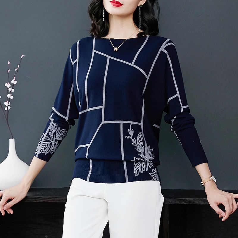 YISU אופנה נשים גיאומטריה הדפסת סוודר ארוך שרוול מגשרי סריגי סתיו חורף סוודרי סוודרים סרוגים באיכות גבוהה