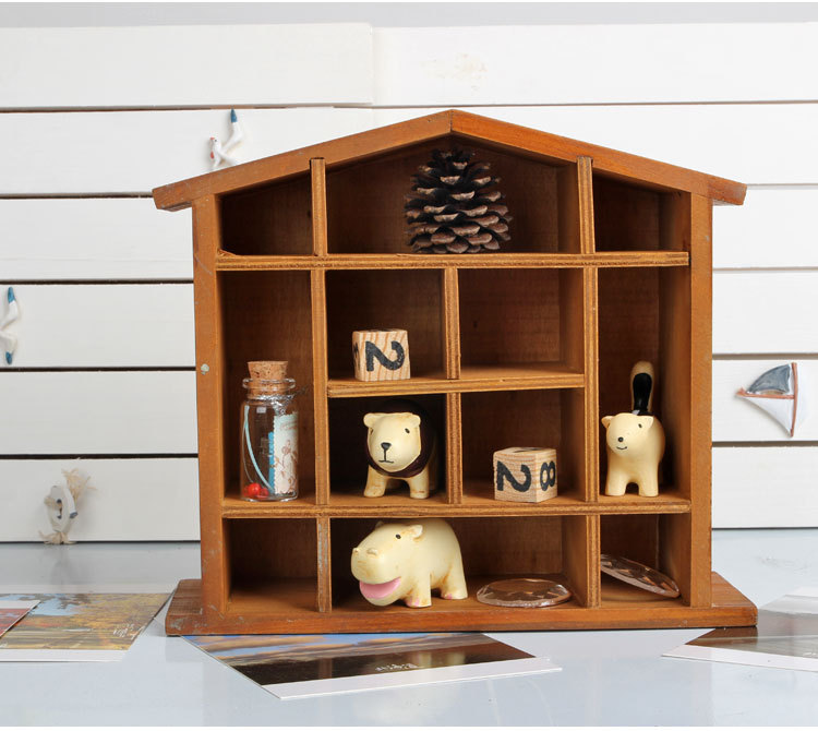 1PC Wood Wall Shelf 12 Lattices Vintage Wall Hanging Cabinet Storage Holder  Rack Living Room Wall Part 64
