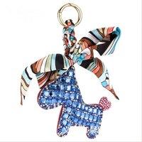 Fashion Handmade Ribbon Leather PU Horse Keychain Crystals Animal Horse Bowknot Key Chains Women Bag Pendant
