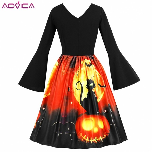 Aovica 3XL 4XL Plus Size Christmas Women Vintage Retro Dresses Pumpkin Print Halloween Hepburn Rockabilly Tunic Dress Vestidos