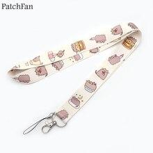A0251 Patchfan с мультяшным животным котом брелок для ключей на шею для ключей ID карты телефона USB бейдж держатель DIY Висячие веревки лямки