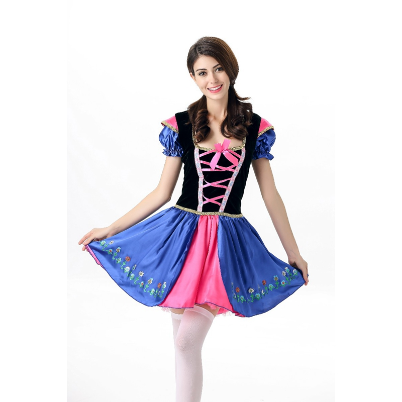 New Adult Snow White Costume Fancy Dresses Fairy Tale Princess Fancy Dress Halloween Costume Biancaneve Blanche neige A413014