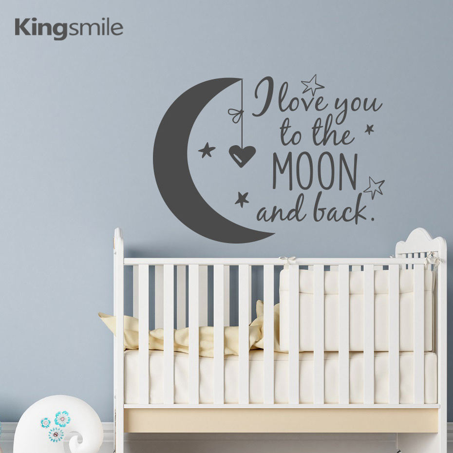 Classic Nursery Wall Decals I Love You to the Moon and Back Moon Stars Children Vinyl Wall Stickers For Kids Rooms Home Decor