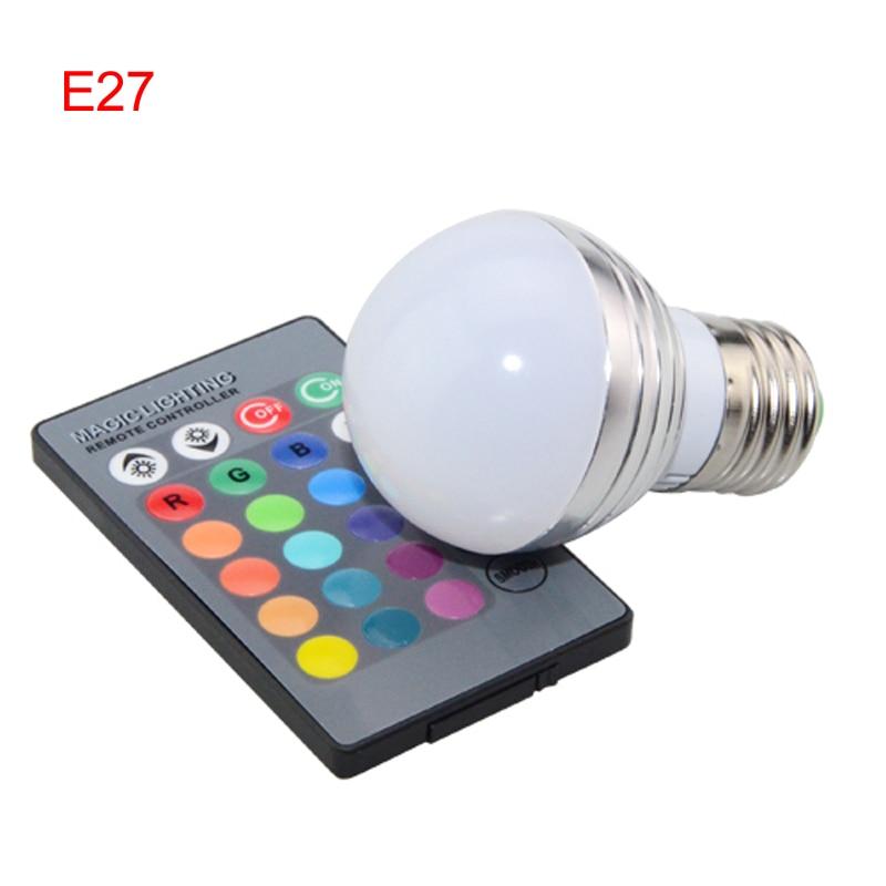 Купить с кэшбэком 50PCS DHL E27 E14 LED RGBBulb lamp AC85-265V5W LED RGB Spotlight dimmable magic Holiday RGB lighting+IR Remote Control 16 colors