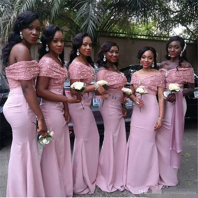 14e302eb42f Off Shoulder Long Wedding Party Gowns Lace Mermaid African Bridesmaid  Dresses 2018 Peach Coral Dress Pink Bridesmaids Gowns