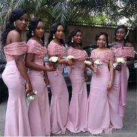 Off Shoulder Long Wedding Party Gowns Lace Mermaid African Bridesmaid Dresses 2018 Peach Coral Dress Pink Bridesmaids Gowns