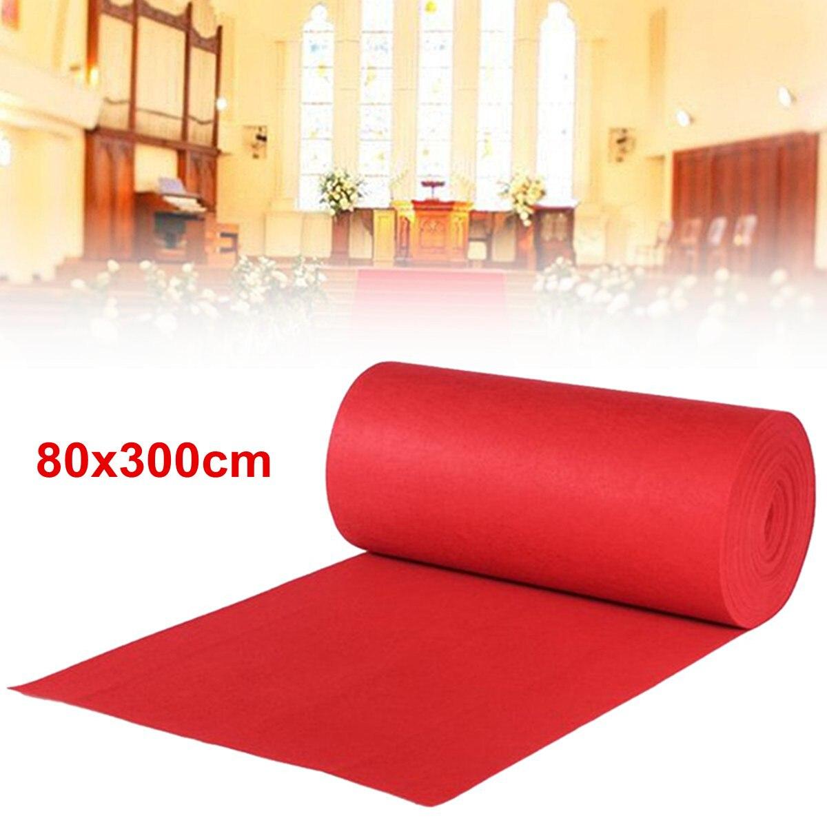 """פוליאסטר אדום שטיח חתונה רצי רצפת מעבר שטיח 80x300 ס""""מ חגיגי מסיבת קישוט אירועים ספקי צד חגיגת פתיחה"""