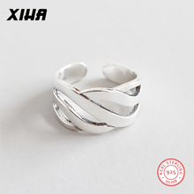 XIHA Genuine 925 Sterling Silver Rings for Women Geometric Hollow Twist Antique Ring Adjustable Fashion Jewelry